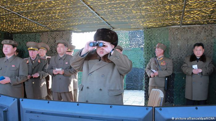 Kim Jong Un inspecting new weapons in March 2016