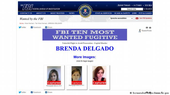 Screenshot Website FBI Brenda Berenice Delgado Reynaga