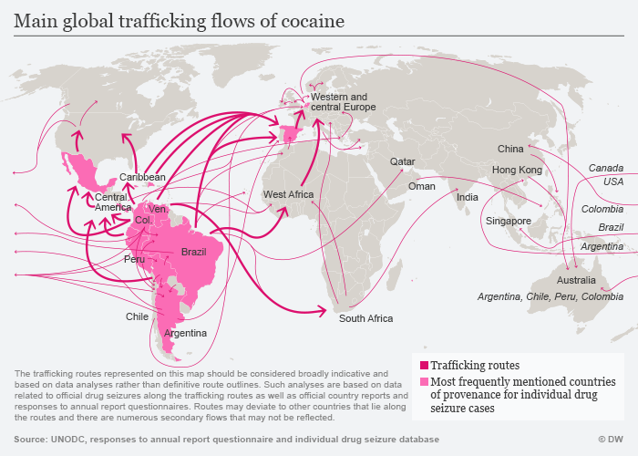 Main global trafficking flows of cocaine