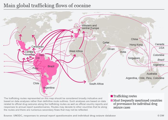 Infografik Hauptschmuggelwege für Kokain englisch
