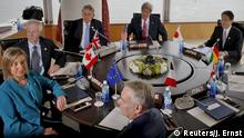 April 10, 2016 E.U. High Representative for Foreign Affairs Federica Mogherini (clockwise from bottom left), Canada's Foreign Minister Stephane Dion, Britain's Foreign Minister Philip Hammond, U.S. Secretary of State John Kerry, JapanÕs Foreign Minister Fumio Kishida, Germany's Foreign Ministry Political Director Andreas Michaelis, Italy's Foreign Minister Paolo Gentiloni and France's Foreign Minister Jean-Marc Ayrault participate in the first working session of the G7 foreign minister meetings in Hiroshima, Japan April 10, 2016. REUTERS/Jonathan Ernst (c) Reuters/J. Ernst