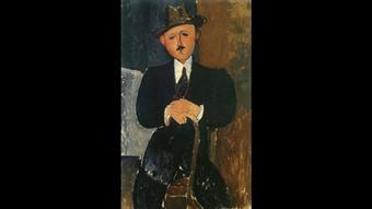 Modigliani Seated Man With a Cane 1918 Copyright: Public Domain