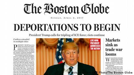 Fiktives Cover des Boston Globe vom 09.04.2016