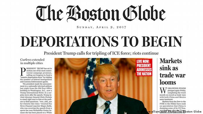 Fiktives Cover des Boston Globe vom 09.04.2016