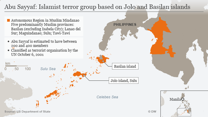 Infographic detailing Abu Sayya's operational center in the Philippines