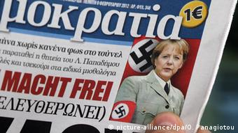 Greek newspaper with Angela Merkel with Nazi arm band (picture-alliance/dpa/O. Panagiotou)
