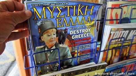 Cover of the satirical magazine Mystiki Ellada with Angela Merkel, Copyright: picture-alliance /Rolf Haid