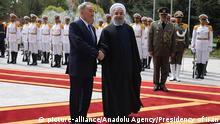 11.04.2016 *** TEHRAN, IRAN - APRIL 11: President of Kazakhstan Nursultan Nazarbayev (L) and President of Iran Hassan Rouhani (R) shake each other's hands prior to their meeting, at Sadabad Complex, in Tehran, Iran on April 11, 2016. Pool / Presidency of Iran / Anadolu Agency © picture-alliance/Anadolu Agency/Presidency of Iran