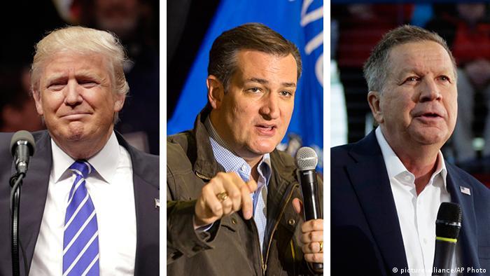Kombobild Donald Trump, Ted Cruz, John Kasich