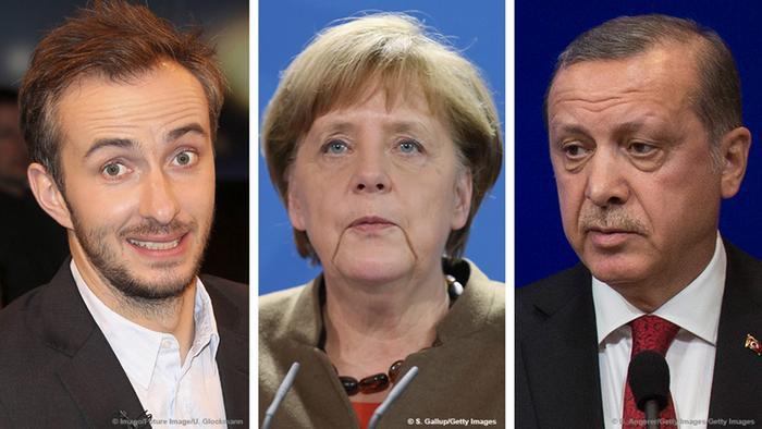 Satirist Jan Böhmermann, German Chancellor Angela Merkel, Turkish President Tayyip Erdogan