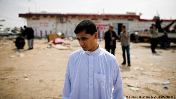 A young man seen at a checkpoint near a Libyan town
