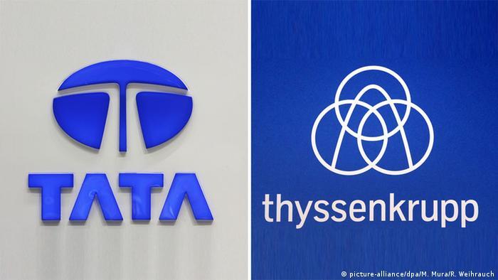 Logo Tata und Thyssenkrupp (picture-alliance/dpa/M. Mura/R. Weihrauch)