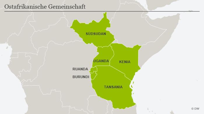 Die Karte zeigt die Länder der Ostafrikanischen Gemeinschaft