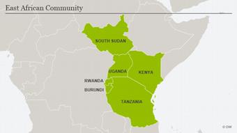 Karte Ostafrikanische Gemeinschaft Englisch
