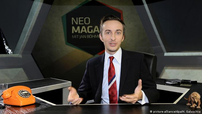 German comedy show host Jan Böhmermann on the set of his ZDF show NEO Magazin