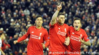 James Milner, Philippe Coutinho and Roberto Firmino