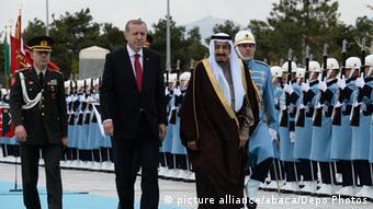 Rais Tayyip Erdogan wa Uturuki na Mfalme wa Saudi Arabia Salman