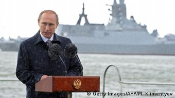 Russian President Vladimir Putin speaking in the Russian exclave of Kaliningrad