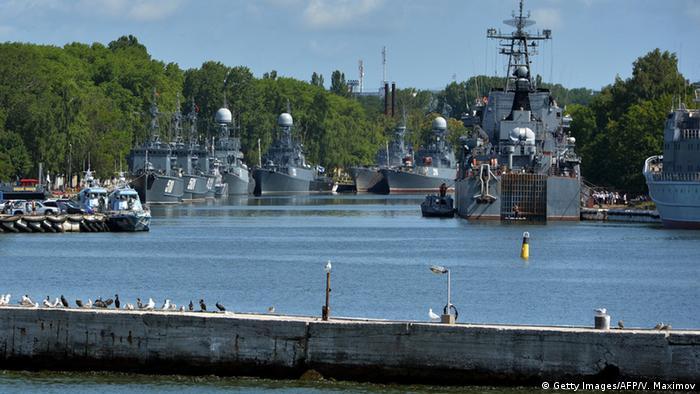 Russian warships in Baltiysk, the port of the Russian Balt fleet.