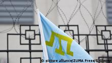 06.11.2015***Nov. 6, 2015 - Kiev, Ukraine - A flag of Crimean Tatars during a protest in front of the Russian embassy in Kiev, Ukraine, 06 November 2015. They gathered to support of Crimean Tatars with demanding to observe the human rights and to liberate political prisoners in Crimea Copyright: picture alliance/ZUMA Press/S. Glovny