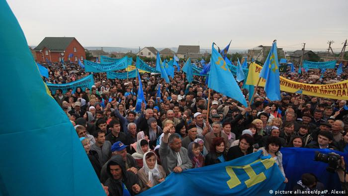 Crimean Tatars protesting in Kyiv against the peninsula's annexation by Russia