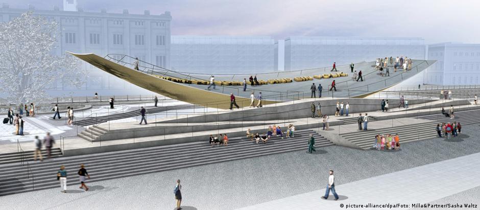 """A """"gangorra será posicionada sobre o pedestal de um antigo monumento nacional"""