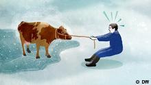 Ein gezeichnetes Bild, auf dem ein Mann eine Kuh an einer Leine von einem zugefrorenem See zieht
