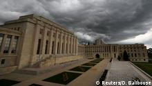 13.04.2016+++ The United Nations' European headquarters are pictured before a rain storm on the first day of a new round of Syria Peace talks in Geneva, Switzerland, April 13, 2016. +++ Reuters/D. Balibouse