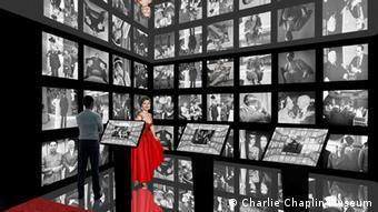 Ein Raum voller Fotos von Chaplin (Foto: Charlie Chaplin Museum)