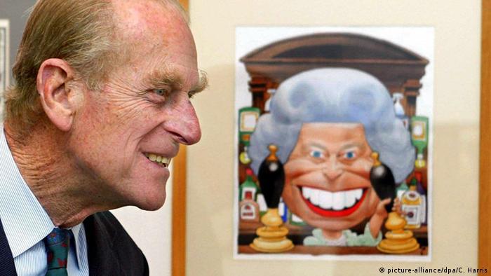 Принц Филипп и карикатура на королеву