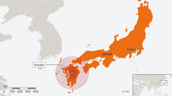 Map depicting the epicenter of an earthquake which struck Kyushu, Japan on 14.04.16
