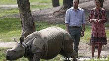 Indien Prinz William und Kate mit Nashorn