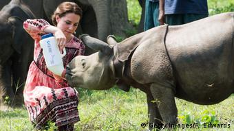 Catherine, Duchess of Cambridge feeds a baby rhinoceros at the Centre for Wildlife Rehabilitation and Conservation (CWRC) at Panbari reserve forest in India's Assam state