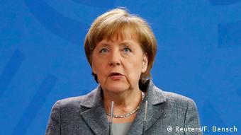 German Chancellor Angela Merkel gives a statement on Turkey's request to seek prosecution of German comedian Jan Boehmermann