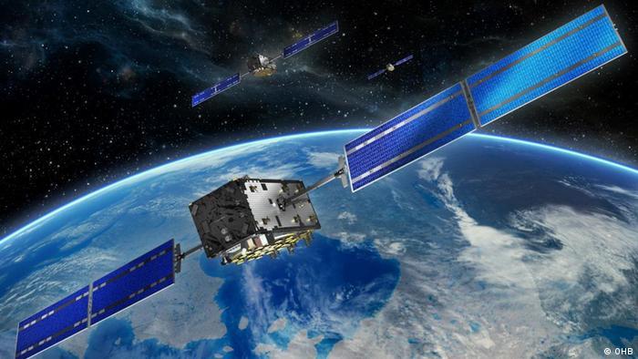 Animation Galileo-Satellit im Weltall