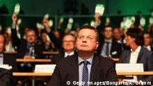 15.04.2016 *** FRANKFURT AM MAIN, GERMANY - APRIL 15: Reinhard Grindel looks on as delegates elect him the new DFB President during the extraordinary DFB Bundestag at Congress Center Messe Frankfurt on April 15, 2016 in Frankfurt am Main, Germany. (Photo by Alex Grimm/Bongarts/Getty Images) © Getty Images/Bongarts/A. Grimm