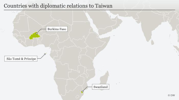 Karte Länder mit diplomatischen Beziehungen zu Taiwan englisch