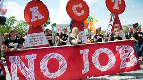 Manifestación en Berlín contra el desempleo juvenil en Europa del este (archivo).