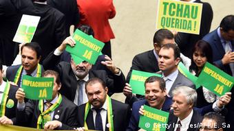 Lower house members who support the impeachment demonstrate EVARISTO SA/AFP/Getty Images