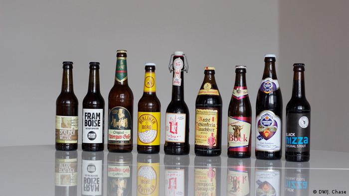 Nine beer bottles at LagerLager in Berlin, Copyright: DW/J. Chase