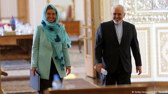 The EU's top Diplomat Federica Mogherini and the Iranian Foreign Minister (Photo: AFP)