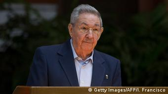 President Raul Castro giving a speech during the opening of VII Congress of Cuban Communist Party (PCC)