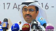 17.04.2016 epa05264531 Qatari Minister of Energy and Industry Mohammed Saleh al-Sada attends a news conference following the oil-producers' meeting at Sheraton Hotel in Doha, Qatar, 17 April 2016. Reports state top oil exporters, including members of the Organization of Petroleum Exporting Countries (OPEC), are meeting in Qatar to discuss freezing output. EPA/STR +++(c) dpa - Bildfunk+++Copyright: picture-alliance/dpa/EPA