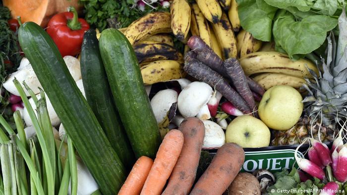 Vegetais em mau estado, mas ainda consumíveis