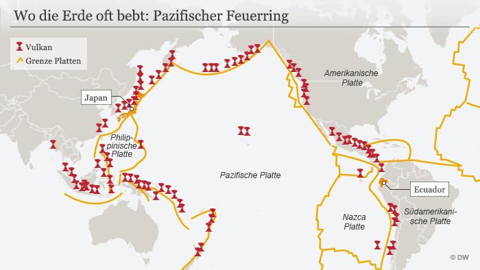 Infografik, Karte, Wo die Erde oft bebt: Pazifischer Feuerring DEU