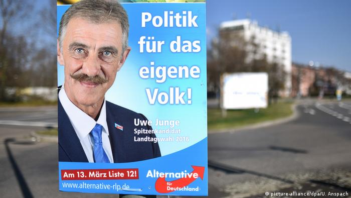 Junge is a well-known AfD figure, particularly in Rhineland Palatinate where he was a lawmaker
