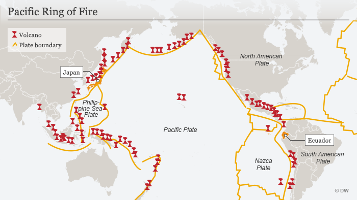 Map showing Pacific Ring of Fire