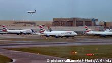 London Flughafen Heathrow Flugzeug Landung
