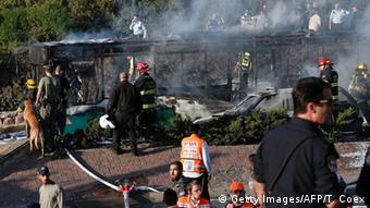 Aftermath of a bus explosion in Jerusalem in April