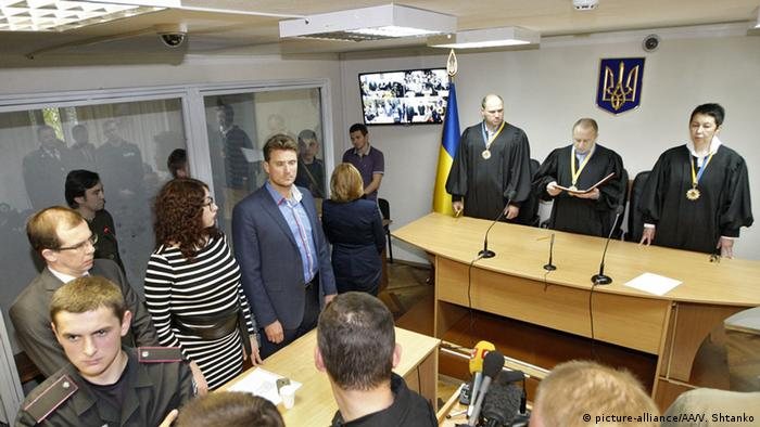 A court hearing for Russian officers Yevgeny Yerofeyev and Alexander Alexandrov at Holosiivskyi district court in Kyiv on April 18, 2016